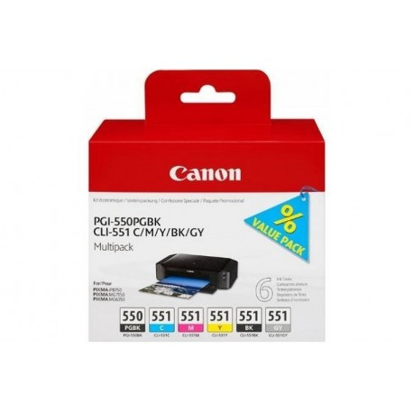 PGI-550/CLI-551 PGBK/C/M/Y/BK/GY (6496B005)